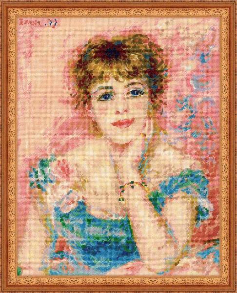 Un ouvrage de broderie réalisé d'après  le portrait de Jeanne Samari réalisé par Pierre-Auguste Renoir