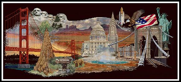 America, nouveauté de la collection Thea Gouverneur, à réaliser sur une toile Aïda noire
