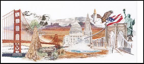 Cet ouvrage à broder présente des lieux et monuments choisis parmi les plus populaires des Etats-Unis.