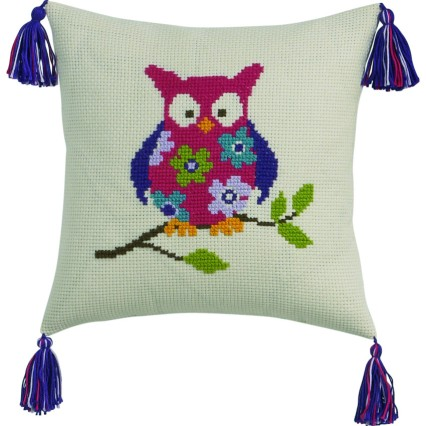 Coussin Chouette fleurie