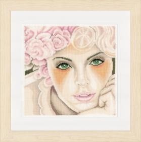 Un visage de femme très doux, coiffé de roses, à broder au point de croix. Lanarte PN-0154474.