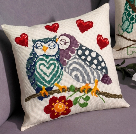 Coussin Chouettes amoureuses