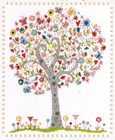 Un arbre plein de promesses d'Amour. Love Tree de Bothy Threads (code XKA2) 29.49 €.