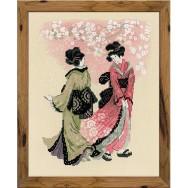 Deux élégantes geishas se promènent sous les cerisiers en fleurs. Kit broderie au point de croix compté.