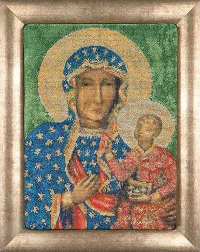 Kit broderie point de croix compté Vierge noire de Czestochowa.  Un kit de Thea Gouverneur sur toile Aïda 6.3