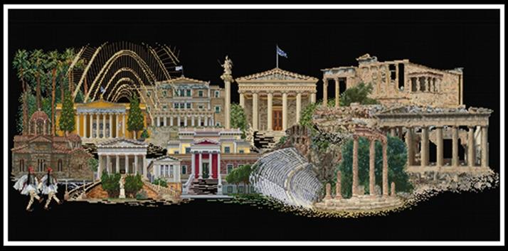Kit de broderie au point de croix compté. Athènes vue de nuit par Thea Gouverneur